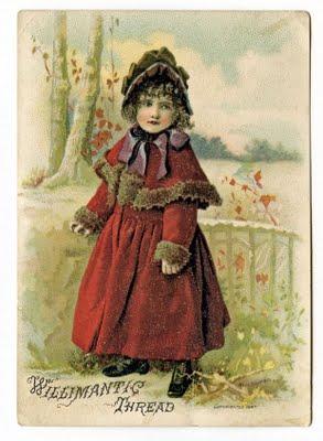 Graphics fairy - Victorian girl in red coat