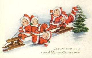 Santa cherubs on a sleigh